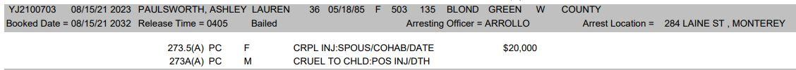 Ashley Lauren Paulsworth Arrest