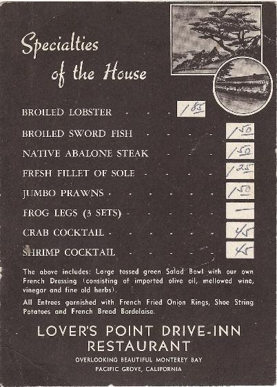 Lovers Point Drive Inn Post Card Menu
