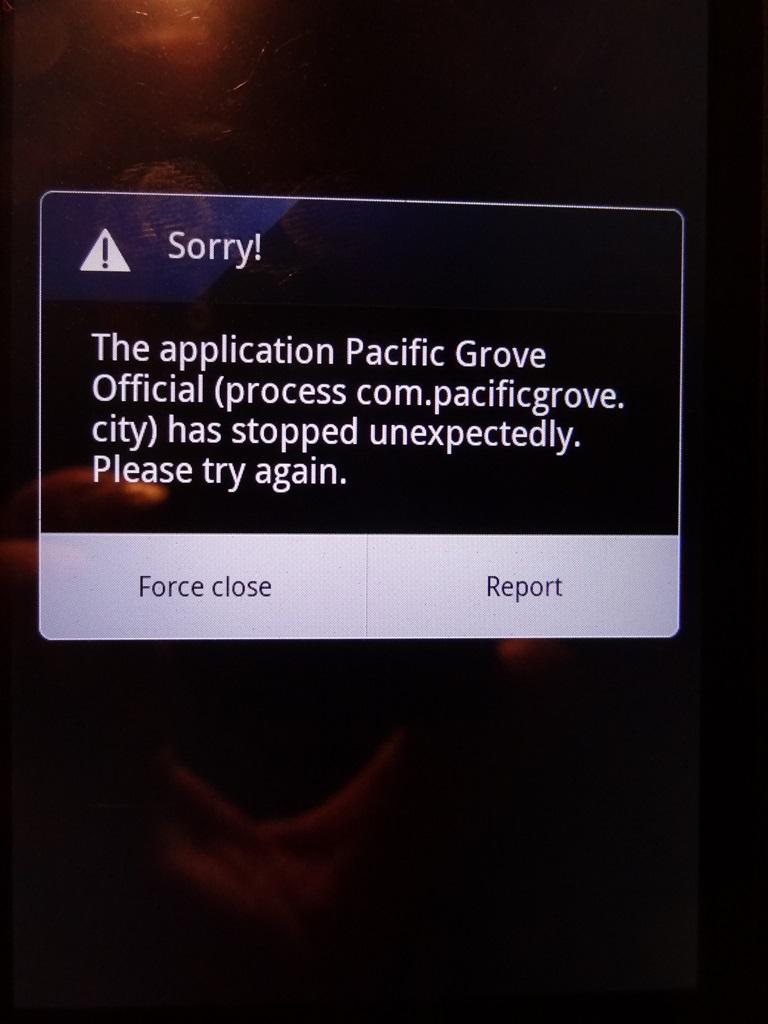PG App Error Sorry