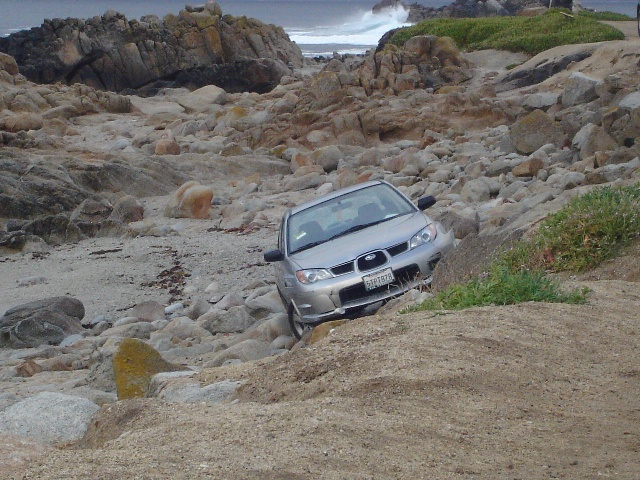 Subaru on the rocks