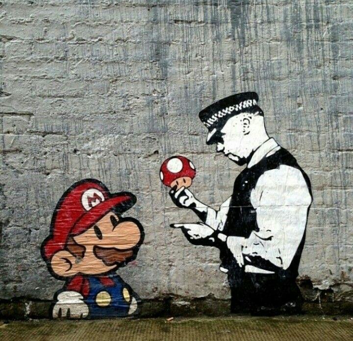 Banksy Mario And Cop